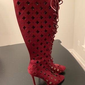 Just Fab Wine Colored Knee High Sandal Boots